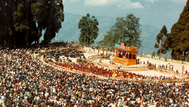 Le site des enseignements de la 17ème initiation de Kalachakra à Gangtok, Sikkim, Inde, en avril 1993 (Photo/OHHDL)